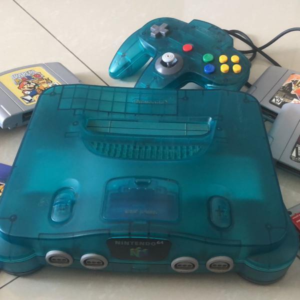 Videogame nintendo 64 azul translúcido + 4 jogos + memory