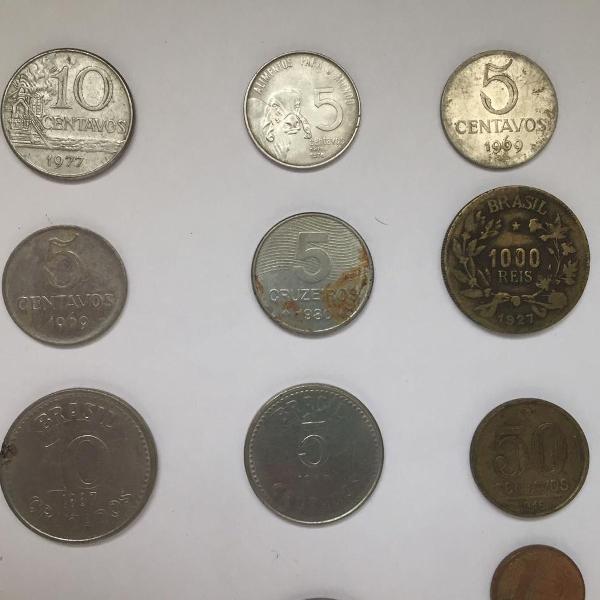 16 moedas antigas (prata, bronze e níquel) para