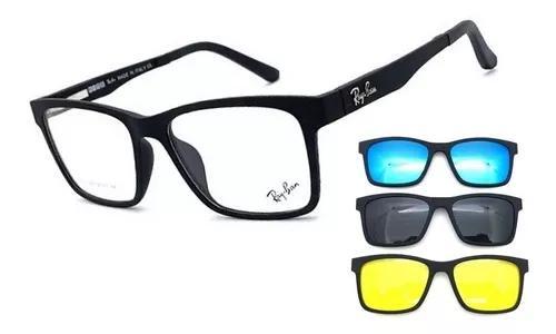 Armação oculos grau sol masculino rb2088 2 clip on