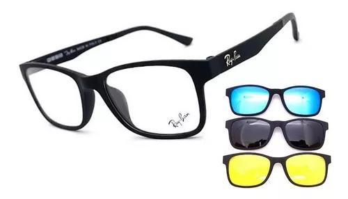 Armação oculos grau solar masculino clip on original multi
