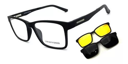 Armação oculos grau solar masculino clip on original prime