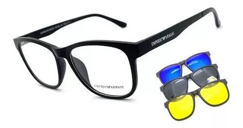 Armação oculos grau solar masculino ea clip on original