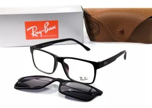 Armação óculos masculino para grau clip on polarizado