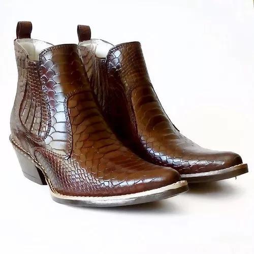 Bota botina country texana masculina bico fino cobraanaconda
