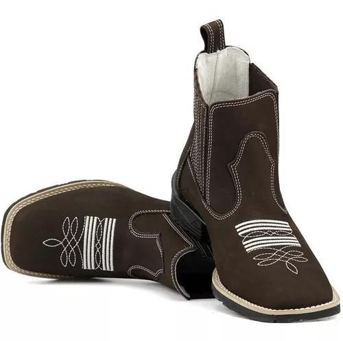 Bota botina texana country cano curto bico quadrado oferta