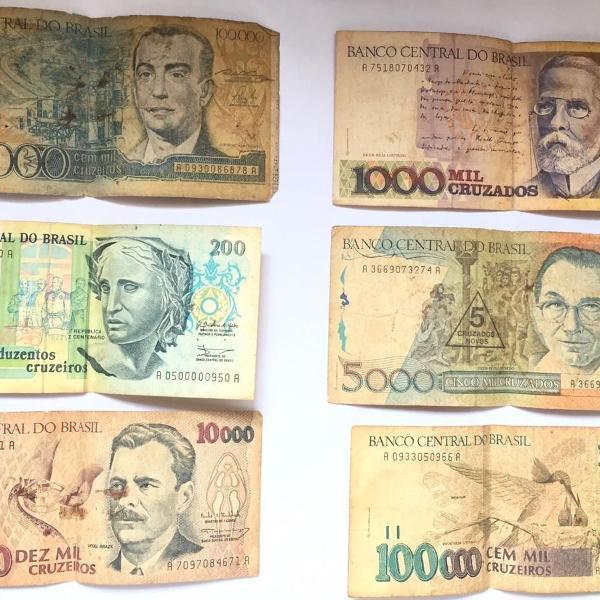Cédulas de dinheiro antigas para colecionador