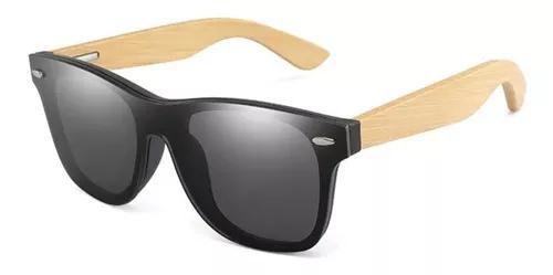 Culos de sol madeira bambo masculino reto flat polarizado
