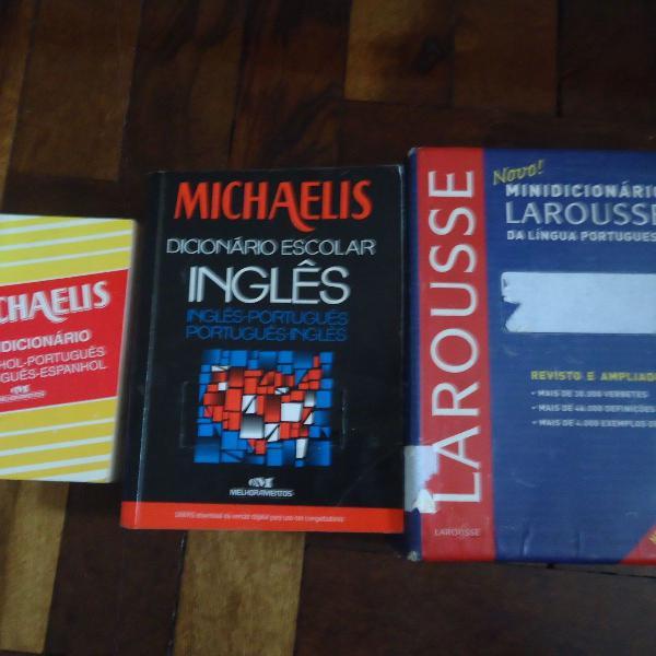 Kit de 3 dicionário escolar de inglês e espanhol usado