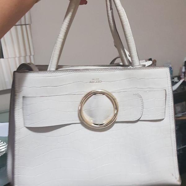 Bolsa arezzo de couro croco off-white