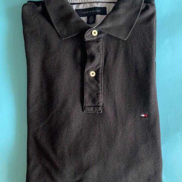 Camisa polo preta tommy hilfiger