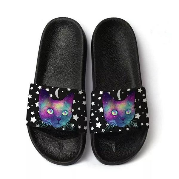 Chinelo slide benassi beach gato psicodélico estrelas