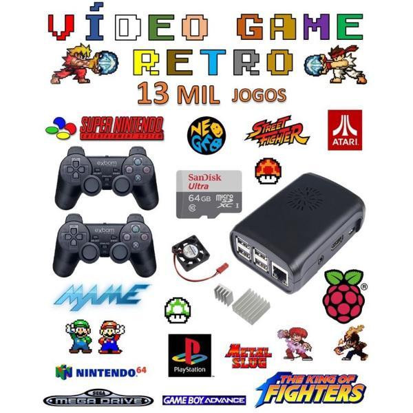Vídeo game retro com 13 mil jogos 64gb com 2 controles ps2