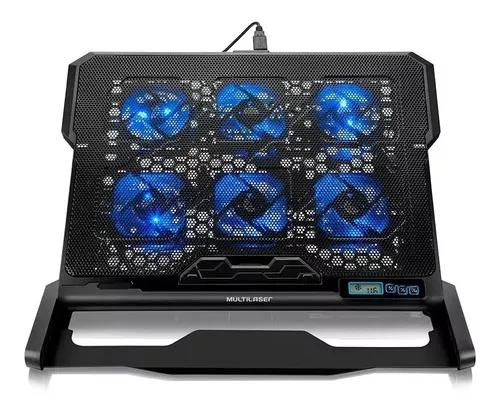 Base cooler para notebook com 6 coolers led azul multilaser