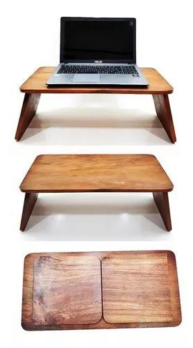 Mesa suporte multiuso de notebook de madeira maciça de cama