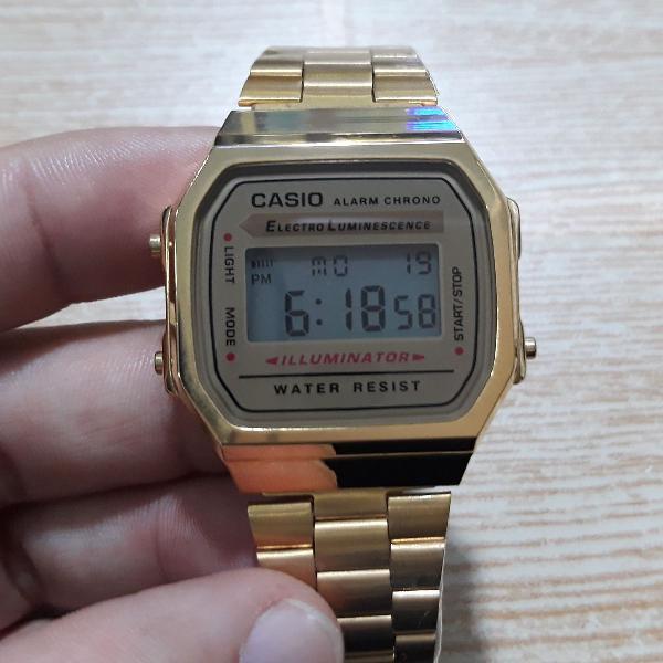 Relógio casio a168 dourado unissex