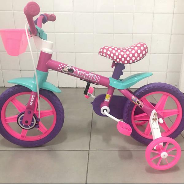 Bicicleta caloi infantil aro 12 minnie disney