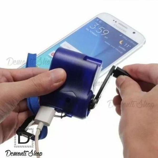 Carregador celular portátil manivela usb