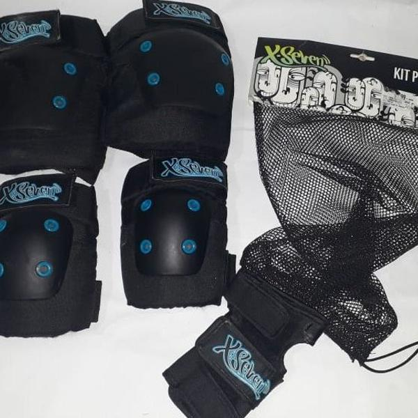 Kit proteção para skate / patins x-seven 5 peças - adulto