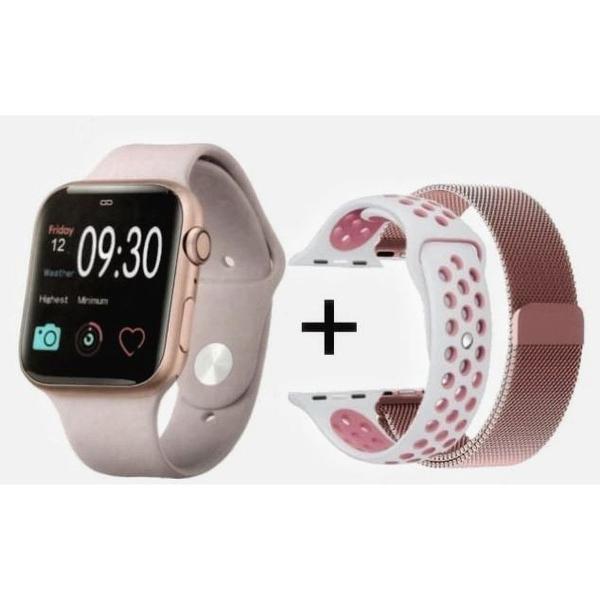Relógio smartwatch iwo 10 gps rose com 3 pulseiras inclusas