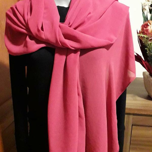 Echarpe em seda rosa