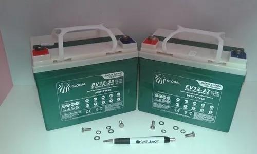Kit 2 Baterias Global 12v 35ah Cadeira De Rodas Ortomix