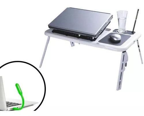 Mesa dobrável notebook cooler usb mousepad + luminária +