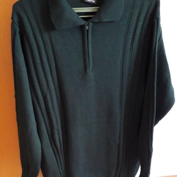 Blusa lã verde escuro, gola com ziper