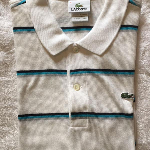 Camisa polo masculina branca lacoste tamanho 4 original