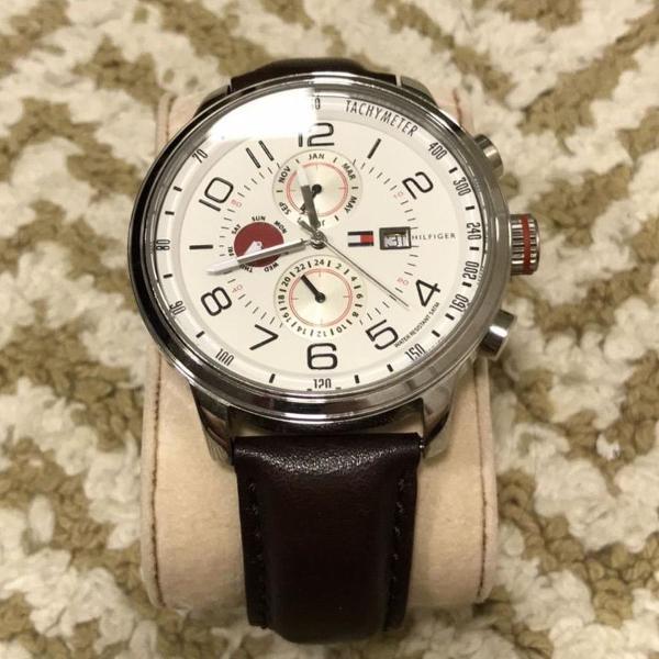 Relógio de couro legítimo tommy hilfiger