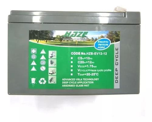 Bateria haze power ev 12ah 12v bike elétrica ciclo profundo
