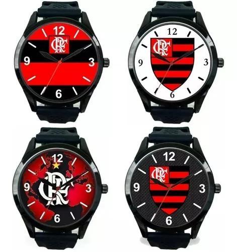 Kit 4 relógios pulso flamengo esportivo masculino