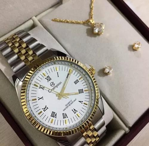 Kit relógio champion dourado e prata f