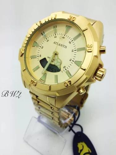 Relógio atlantis masculino a3482 dourado analógico digital
