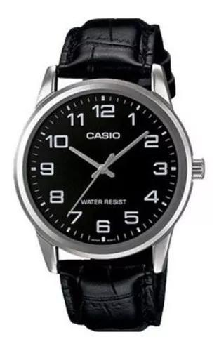 Relógio casio masculino couro preto mtp-v001l-1budf