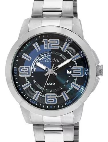 Relógio condor masculino prata grande fundo azul