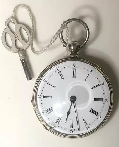Relógio de bolso a chave antigo 3 tampas por 1880 funciona