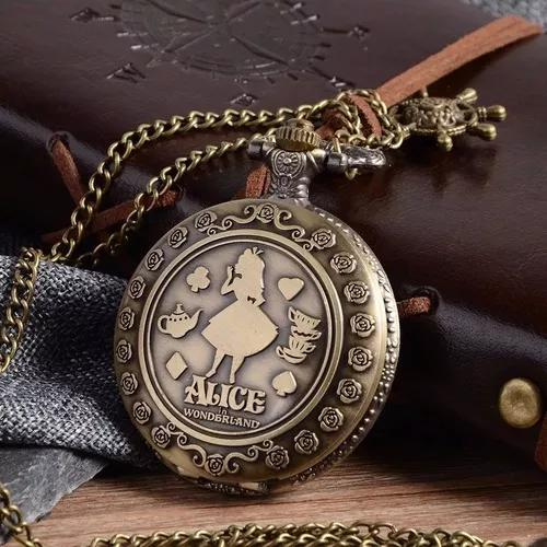 Relógio de bolso - alice no país das maravilhas.