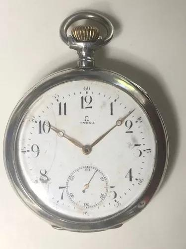 Relógio de bolso caixa ômega de prata 0,800 de 3 tampas