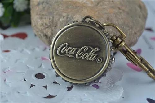 Relógio de bolso, colar e chaveiro - decoração coca cola