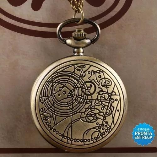 Relógio de bolso doctor who modelo retro bronze com