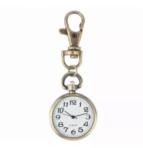 Relógio de bolso retro bronze quartzo movimento chaveiro