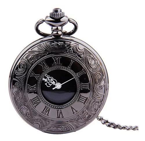 Relógio de bolso vintage preto numerais romanos números de