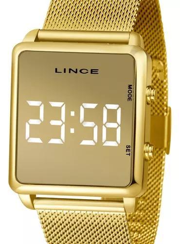Relógio lince unissex dourado quadrado mdg4619l bxkx