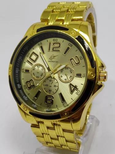 Relógio luxo dourado militar potenzia barato + caixa!