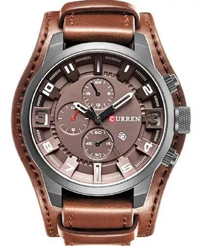 Relógio masculino couro original prova d água marca curren
