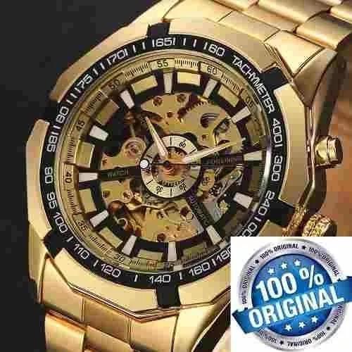 Relógio masculino dourado luxo inox automático 340