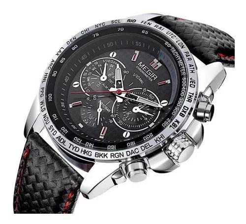 Relógio masculino megir men quartz preto pulseira de couro