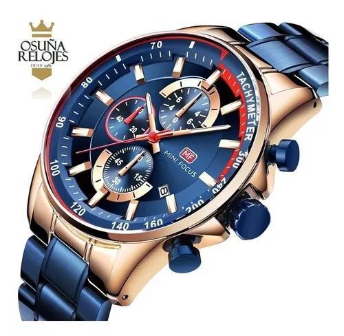 Relógio masculino original dourado prata pronta entrega mf