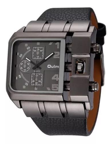 Relógio masculino rústico preto aço inoxidável couro