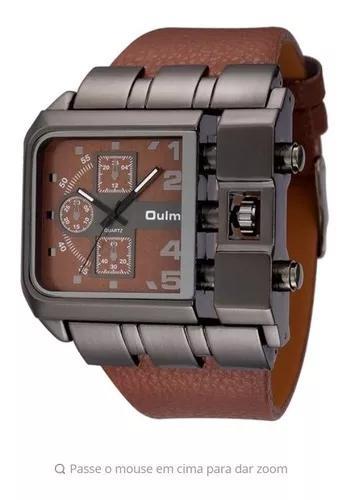 Relógio masculino rustico marrom aço inoxidável couro